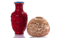 Zwei Vasen des ethnischen Chinesen Lizenzfreies Stockbild