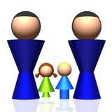 Zwei-Vati 3D Familien-Ikone Stockfoto