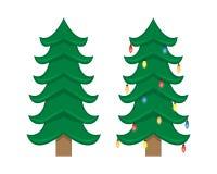 Zwei Vektor Weihnachtsbäume Weihnachtsbaum vor der Verzierung und nachher vektor abbildung