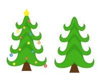 Zwei Vektor Weihnachtsbäume Weihnachtsbaum vor der Verzierung und nachher stock abbildung