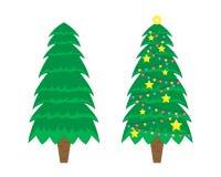 Zwei Vektor Weihnachtsbäume Weihnachtsbaum vor der Verzierung und nachher lizenzfreie abbildung