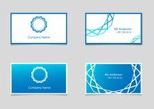 Zwei Vektorvisitenkarteschablonen mit blauem Steigungs- und Firmenlogo Stockfotos