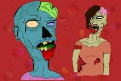 Zwei veranschaulichten Zombies in der Karikaturart mit sichtbaren Gehirnen, EM Lizenzfreie Stockfotos