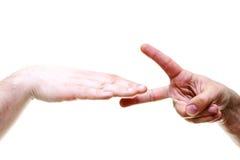 Zwei verbanden Hände Stockfoto