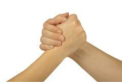 Zwei verbanden Hände stockbilder