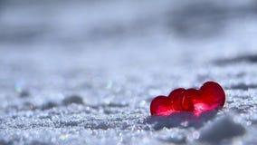 Zwei verklemmte Innere Rote Herzen auf dem weißen Schnee stock footage
