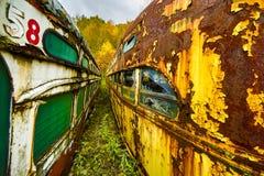 Zwei verlassene Laufkatzenautos nebeneinander Lizenzfreie Stockfotografie