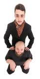 Zwei verrückte Männer schossen Weitwinkelkamera Stockfotografie