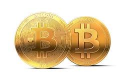 Zwei verschiedene goldene bitcoins als mögliche Spalte von bitcoin cryptocurrency in zwei Währungen lokalisiert auf weißem Hinter stock abbildung