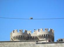 Zwei Vögel auf einem Draht - mittelalterliches Fort Stockfotos
