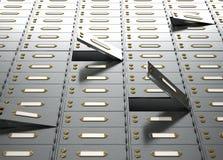 Zwei volle Leinwandsäcke auf nettem braunem Hintergrund mit freiem Platz für Text Metallkabinette mit offenen Türen Ansicht von d Stockfoto