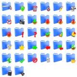 Zwei volle Leinwandsäcke auf nettem braunem Hintergrund mit freiem Platz für Text Set Faltblattikonen Stockfotos