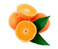 Zwei vollständige und eine geschnittene Mandarine Stockbilder