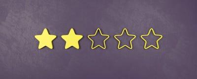 Zwei von fünf veranschlagenden Sternen, schlechte veranschlagende Konzepte vektor abbildung