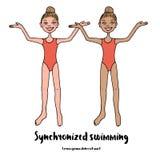 Zwei würdevolle Athleten Synchronschwimmen im roten Badeanzug Stockfotos