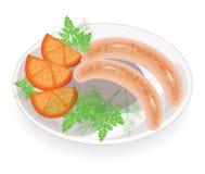 Zwei W?rste auf einer Platte Garnierungsgemüse, -tomate und -GRÜNS des Dills und der Petersilie Heißer Teller zum Frühstück, Mitt lizenzfreie abbildung