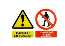 Zwei warnende Gefahr-Zeichen Stockbild