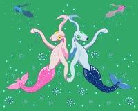 Zwei Wasserhunde der Meerjungfrau stockfoto