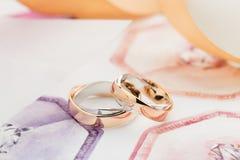 Zwei weiß und rosafarbene Goldeheringe auf Pastellhintergrund Lizenzfreies Stockbild