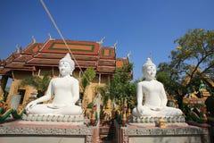 Zwei weiße Buddha-Statuen vor Tempel Stockfotografie