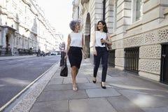 Zwei weibliche Kollegen, die in der Straßenunterhaltung gehen stockbild