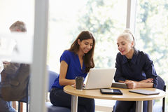 Zwei weibliche reife Studenten, die unter Verwendung des Laptops zusammenarbeiten stockbild