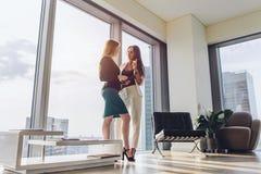 Zwei weibliche Teilhaber, welche die Pläne stehen im modernen Büro am Turmblock besprechen stockbild