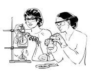 Zwei weibliche Wissenschaftler mit Reagenzgläsern lizenzfreie abbildung