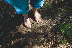 Zwei weiblicher Fuß steht auf dem Waldboden stockbild