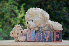 Zwei weiße Teddybären mit Liebessteinen Stockfoto