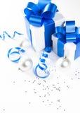 Zwei Weihnachtsgeschenkkästen Stockbild