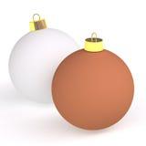 Zwei Weihnachtskugeln Stockfotos