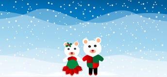 Zwei Weihnachtsteddybären Stockfotografie