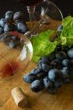 Zwei Weingläser mit Rotwein und Trauben Lizenzfreie Stockfotos