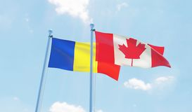 Zwei wellenartig bewegende Flaggen stockfoto