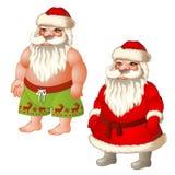 Zwei Zahlen Santa Claus, gekleidet und Unterhosen Lizenzfreie Stockfotos