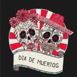 Zwei Zuckerschädel vector Illustration für Tag der Toten Lizenzfreies Stockfoto