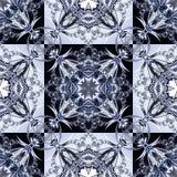 Zweifarbiges nahtloses Muster mit Blumenkreis- und Quadratverzierung Lizenzfreie Stockfotografie