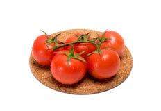 Zweig der roten Tomate mit Wasser fällt auf eine Korkenbasis Stockfotografie