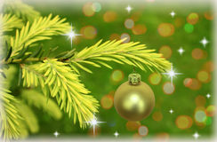 Zweig des Weihnachtsbaums mit Sternen Stockbild