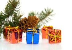 Zweig des Weihnachtsbaums und der Geschenke Stockbilder