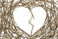 Zweige in der Liebes-Form geknackt Lizenzfreie Stockbilder