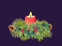 Zweige des Weihnachtsbaums, Kerze, Mistelzweig watercolor stock abbildung