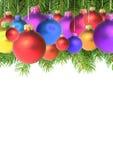 Zweige mit einem Weihnachtsspielzeug stockbild