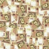 Zweihundert ukrainische hryvnia Banknoten im schwarzen Geldbeutel Stockbilder