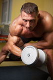 Zweiköpfiger Muskel schoss von einem starken Mann Stockfoto