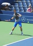 Zweimal Grand Slam-Meister Andy Murray übt für US Open 2013 bei Louis Armstrong Stadium Stockbilder