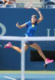 Zweimal Grand Slam-Meister Petra Kvitova während US Open-Erstrundeanpassung 2014 an Kristina Mladenovic Lizenzfreie Stockbilder