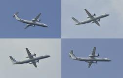 Zweimotoriges Mittelstreckenturboprop-triebwerk Flugzeugfliegen in den verschiedenen Positionen Lizenzfreie Stockbilder