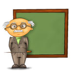 Zweinstein. Funny cartoon professor standing by the blackboard against white background Royalty Free Stock Images